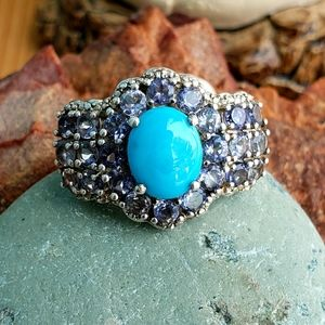 Tanzanite and Sleeping Beauty Turquoise Ring